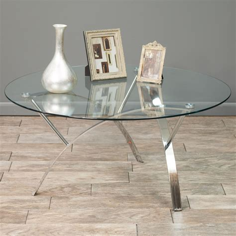 Houzz gdfstudio sidney modern glam tempered glass oval coffee table with iron frame. Davina Tempered Glass Round Accent Coffee Table w/ Chrome Legs | Contemporary coffee table ...