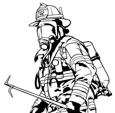 13000 firefighter clipart black and white firefighter with mask stock vector illustration of