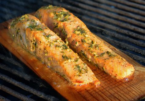 cedar planked salmon  lemon garlic herbs