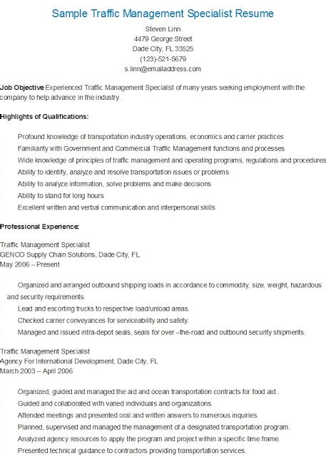 Management Specialist Resume by Resume Sles Sle Traffic Management Specialist Resume