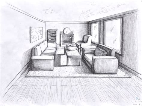 One Point Perspective Living Room Drawing : Pencil And In Color Drawn Room