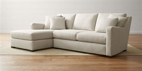 chaise h et h sectional sofas leather and fabric crate and barrel