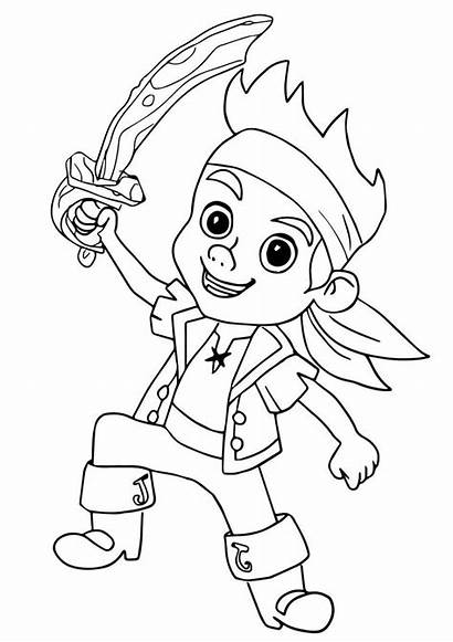 Jake Pirate Coloring Pirates Neverland Pages Easy