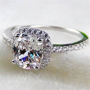 wedding rings real diamonds genuine 14k white gold 2 carat cushion cut sona simulated wedding engagement rings solid