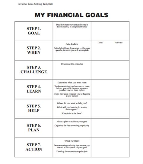 goal planning template 9 goal planning templates sle templates