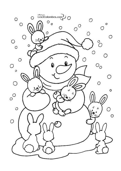 coloriage bonhomme de neige  ses amis lapins dessin gratuit  imprimer