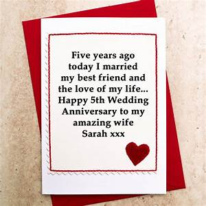 personalised 5th wedding anniversary card by jenny arnott With 5th year wedding anniversary