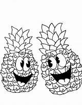 Pineapple Coloring Happy Pair Outline Cartoon Pages Pineapples Spongebob Drawing Printable Print Getdrawings Getcoloringpages Colornimbus sketch template