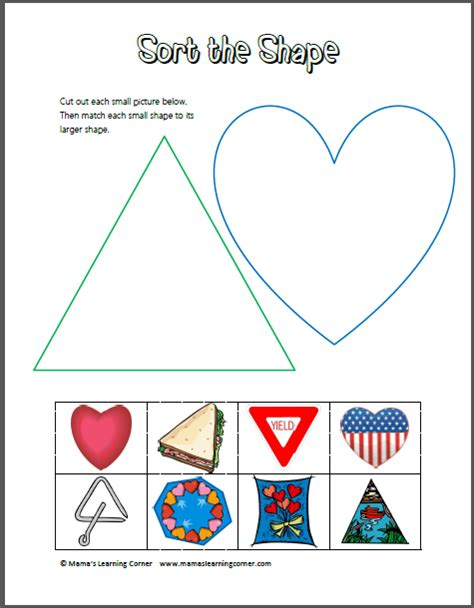 sort the shape triangles and hearts mamas learning corner