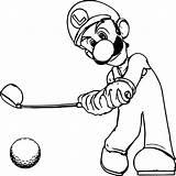 Luigi Coloring Mario Golf Printable Lesson Adults Drawing Printables Getdrawings sketch template