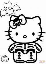 Skeleton Kitty Coloring Halloween Hello Pages Printable Drawing Line Clipart Drawings Costume Cartoon Clipartmag Simple Characters Paper Colorings Anime Crafts sketch template