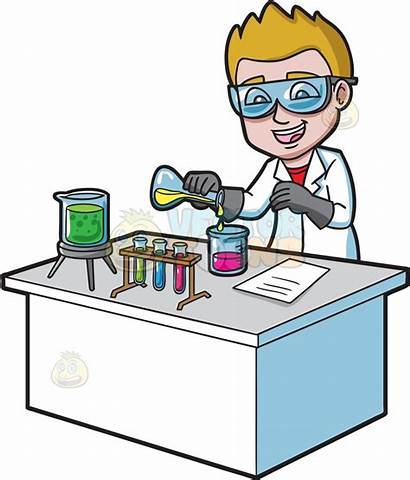 Chemicals Clipart Mixing Chemical Reaction Scientists Cartoon
