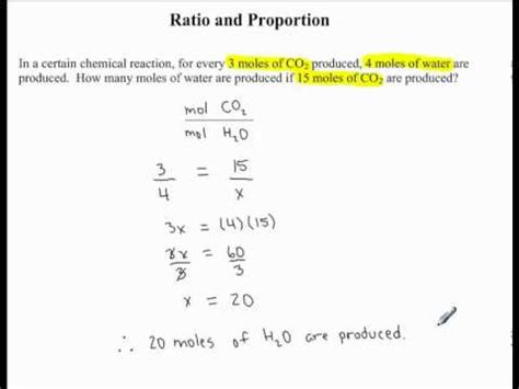 Ratio & Proportion  Example 4  Chemical Reaction Youtube