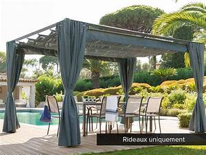 jeu de 4 rideaux pour tonnelle hesperide modele palmeira 3 With rideau pour pergola exterieur 10 pergolas alu