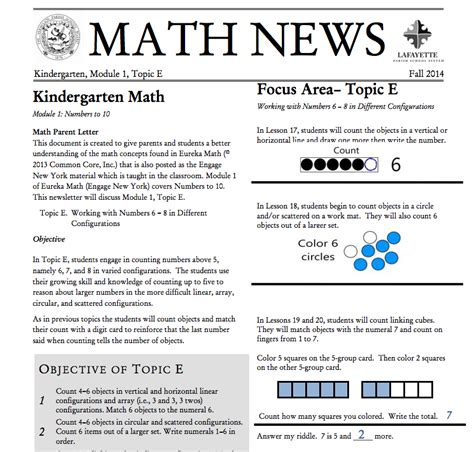 Grade 3 Module 1 Topic A Parent Newsletter Developed By Kindergarten Module 1 Topic E Parent Newsletter
