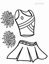 Cheerleader Cheer Cheerleading Coloring Pages Megaphone Uniform Printable Drawing Sports Drawings Colouring Sheets Uniforms Team Basketball Crafts Hair Pom Printables sketch template