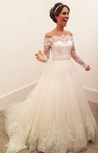 lace long sleeves princess wedding dresses 2017 off the With off the shoulder wedding dresses 2017