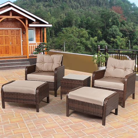 how to buy wicker garden furniture on a budget out out 5 pcs rattan wicker furniture set sofa ottoman w cushions