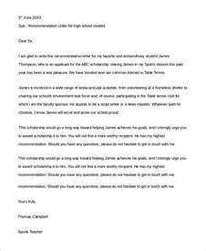 letter of recommendation for high school student sle letter of recommendation for student 8 exles