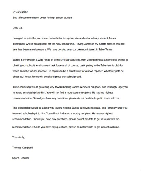 high school student recommendation letter slepersonal