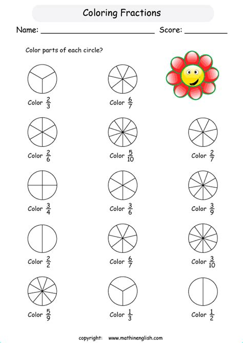 Color Fractions In Basic Shapes Introduction To Understanding Fractions Math Worksheet For Grade