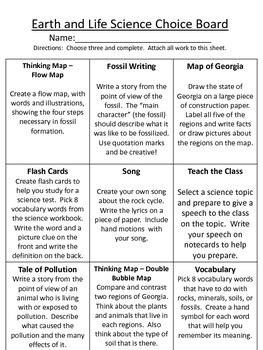 grade science choice boards common core  cpat tpt