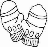 Pages Gloves Coloring Colouring Clipart Hat Mittens Printable Templates sketch template