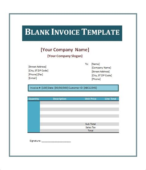 sample blank invoice templates sample templates