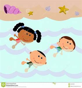 Beach Scene With Kids Swimming | Clipart Panda - Free ...