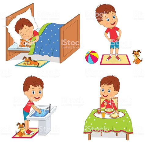 Kids Daily Routine Stock Vector Art & More Images Of