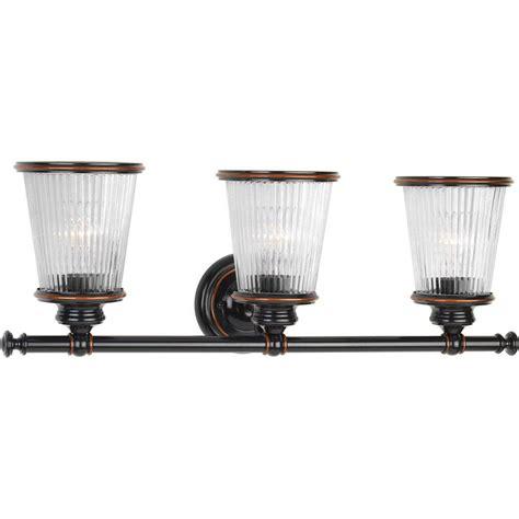 bronze vanity light progress lighting radiance collection 3 light rubbed