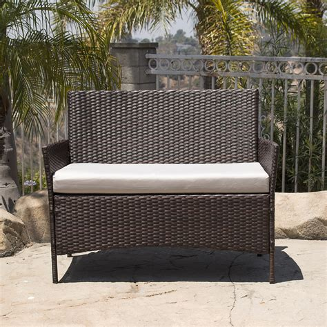 4pc patio furniture set pe wicker cushioned outdoor rattan