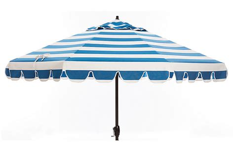 phoebe scallop edge patio umbrella blue white patio