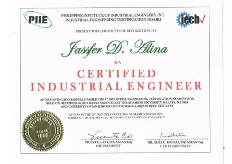 Certified Industrial Engineer