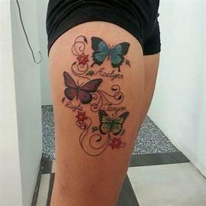 Tatouage Papillon Signification : tatouage femme prenoms 3 enfants avec papillons couleur ~ Melissatoandfro.com Idées de Décoration