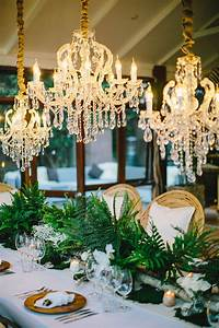 Crystal chandelier trio reception decor elizabeth anne
