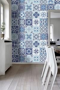 sticker carrelage de decoration bleu portugais pack avec With carrelage adhesif salle de bain avec led pour veranda