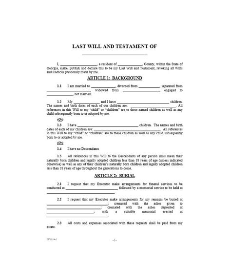 Downloadable Will Template by 39 Last Will And Testament Forms Templates Template Lab