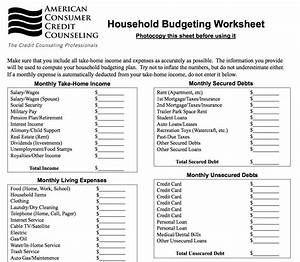 planning a budget worksheet