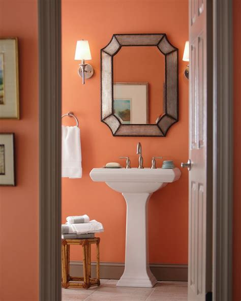 apricot paint color for kitchen glidden s ripe apricot color warms up your bathroom decor 7499