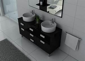 Double Vasque Noir : meuble de salle de bain double vasque noir dis911n ~ Teatrodelosmanantiales.com Idées de Décoration