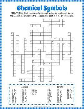 chemical symbols crossword puzzle testing chemistry