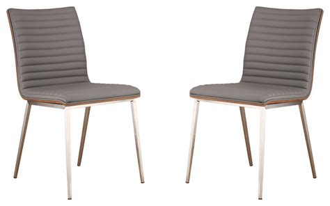 cafe brushed stainless steel dining chair in gray pu with