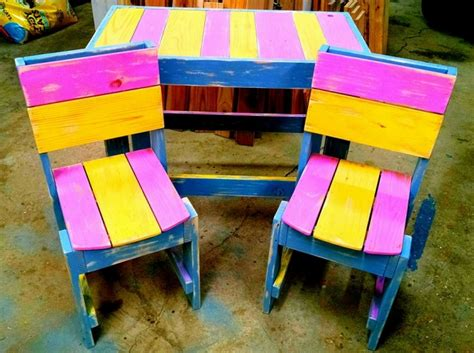 colorful pallet table with chairs pallet ideas recycled