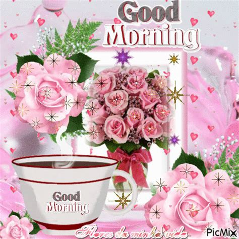 coffee roses good morning animation pictures