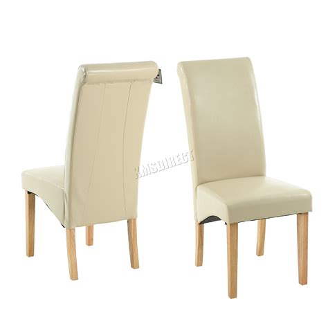 faux leather dining chairs roll top scroll high back wood
