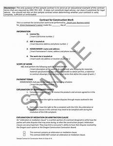 Construction Work Contract Sample