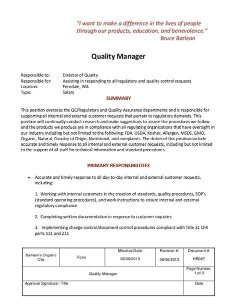 fda eir cover letter description quality manager