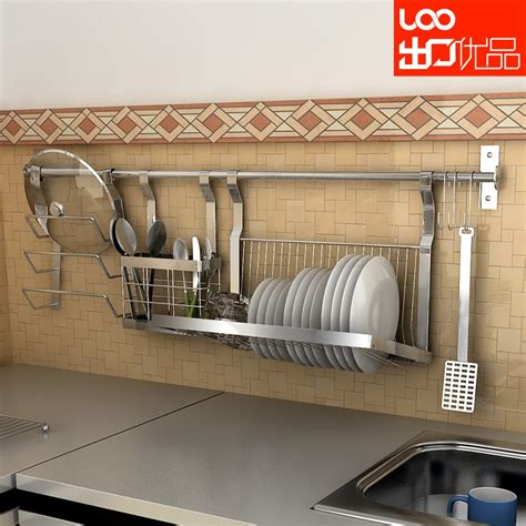 wall mounted stainless steel dish rack shelf chopsticks tube pot rack combination