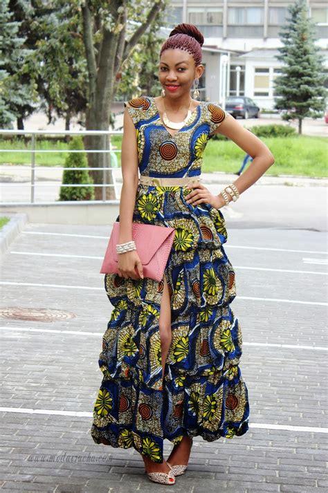 Long ankara dress with front slit - Modern African Dress